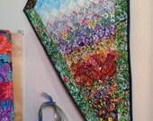 Summer Garden Art Quilt, Kite Fabric Wall Hanging, Sun Moon Quilt, Flower Garden Quilt, Kids Room Art, Landscape Quilt, Watercolor Quilt