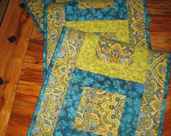 Paisley Turquoise, Green and Gold, Reversible Runner, Long Runner, Contemporary Table Runner, 13.5 x 64""
