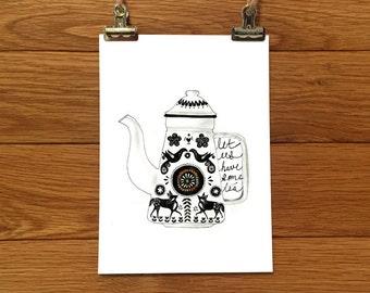 Let Us Have Some Tea - Vintage Teapot Art Print - Wall Art - Wall Decor