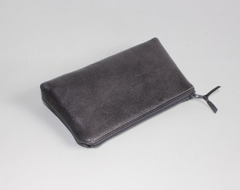 Small Leather Pouch. Leather Bag. Leather Make-Up Bag. Leather Cosmetic Bag in Gray