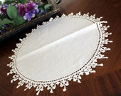 17 Inch Vintage Doily in White - Linen Centered with Exquisite Crochet Lace Border 13381