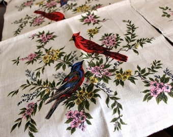2 Linen Panels / Tea Towels - Unfinished Edges, Vinatge Pure Linen, Bird Motif Prints 13218