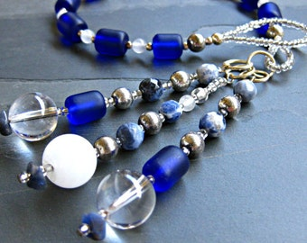 Cultured Navy Sea Glass, Sodalite and Quartz Gratitude Meditation Beads