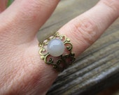 Grey Moonstone Ring Adjustable Brass