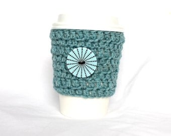 Button travel mug cup cozy coffee crochet turquoise