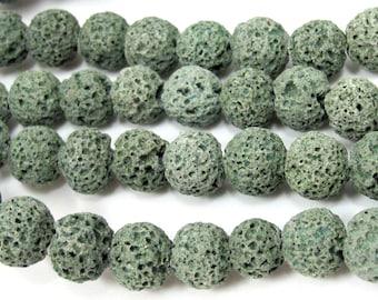 20 beads - Lava beads rondelle shape green  Lava beads 10 mm  - NB150