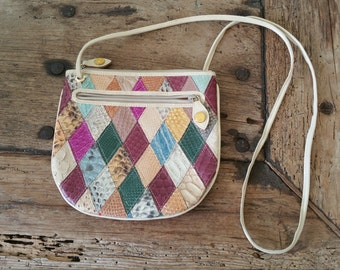 Genuine Multi-colored leather purse, made in Italy