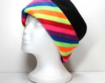 Bright Rainbow Brim and Black Anti Pill Fleece Hat Warm Hat Winter Hats Womens Hats Girls Fleece Hats Womans Fleece Hat Ladies Fleece Hats