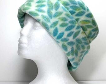 Leaves on Cream Pillbox Fleece Hat Warm Hat Winter Hats Womens Hats Girls Fleece Hats Womans Fleece Hat Ladies Fleece Hats