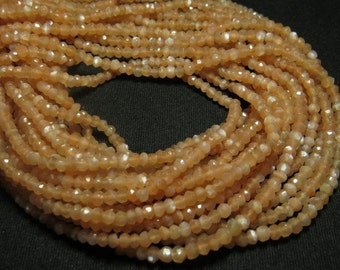 2 x AAAA - High Quality So Gorgeous - PEACH Color - MOONSTONE - Micro Faceted Roundell Beads 14 inches Full strand size 4 mm