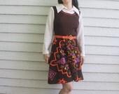 Mod Dress 70s Hippie Off White Brown Orange Print Vintage XS S