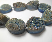 Gemstone Druzy Grey Blue Agate , Large Center Drilled Bead , Oval 18x25mm