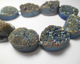 Gemstone Druzy Grey Blue Agate , Large Center Drilled Bead , Oval 18x25mm