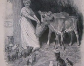 Barnyard Art Print, Farm Animals Scene,  Children's Art Illustration, 1899 Print to Frame ,Black and White Animals Scene