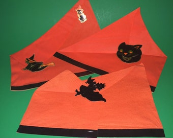 3 Vintage Crepe Paper Halloween Party Hats