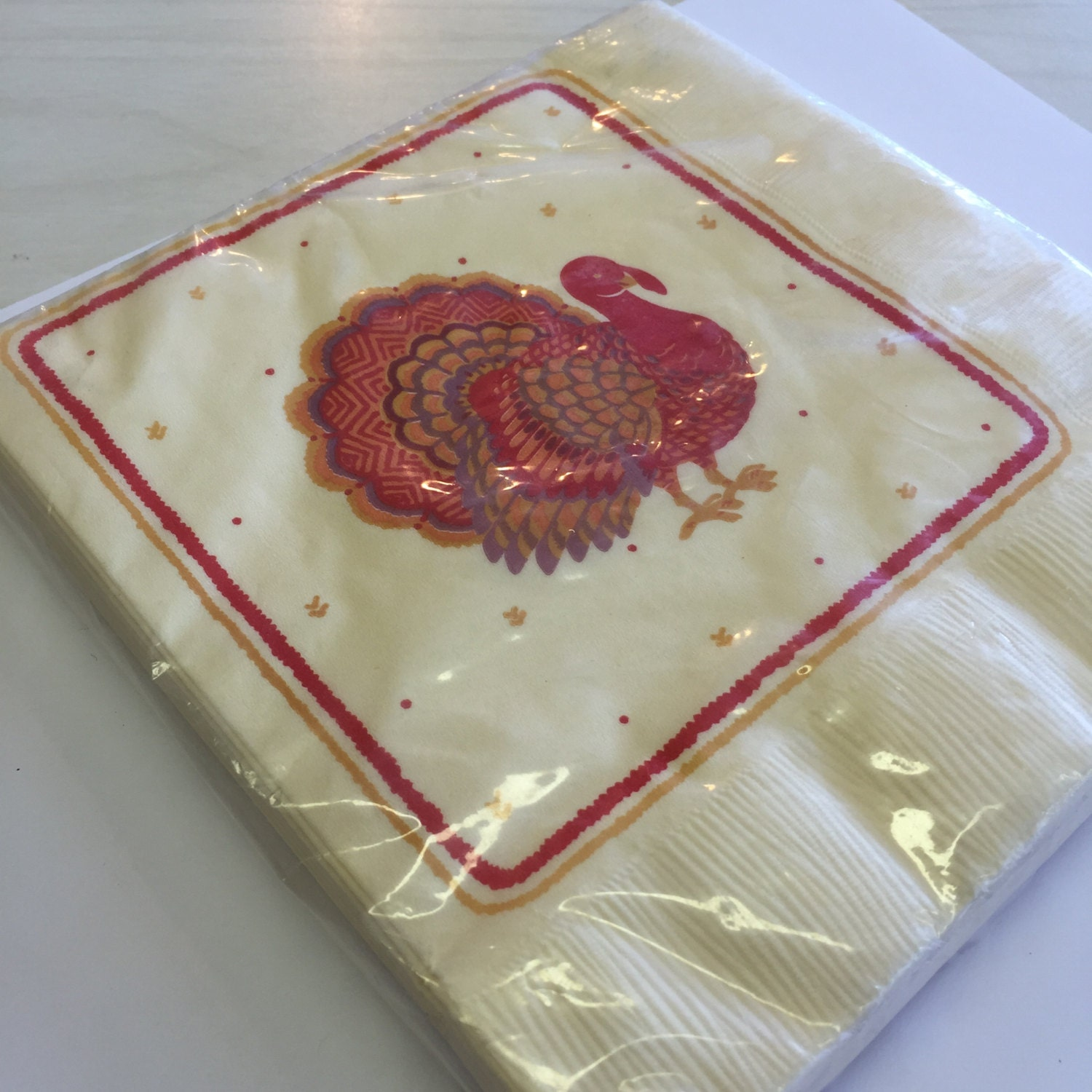 Vintage thanksgiving napkins turkey paper dinner napkins for Turkey napkins