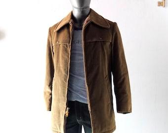 Vintage Men's ZERO KING Corduroy Fur Lined Winter Hunting Style Coat - Mens 40 Med/L 1960s Collegiate Prep Rugged Dude Cool - Double Zipper