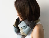 Blue Brown Infinity Linen scarf / Tube Scarf /Circle Scarf