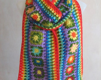 Granny squares and stripes scarf, rainbow crocheted shawl, warm, long, bright, colorful, , handmade, unique design, lady gift, winter scarf