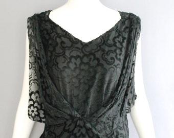 1920s FLOCKED VELVET art deco black draped silk chiffon PARTY cocktail dress vintage gatsby flapper 20s reserved