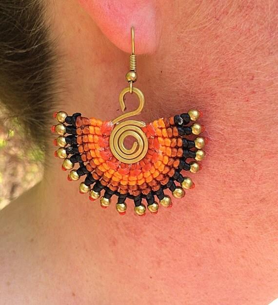 Brass Bead Neon Macrame Waxed Cotton Spiral Boho Summer Earrings