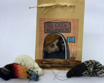 Catnip Toy Mouse with a House, 3 Cat Nip Mice, Kitten Toy, Cat Toy in a Bag, Pet Toy