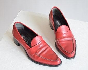 Vintage RYLKO leather penny loafers / 7