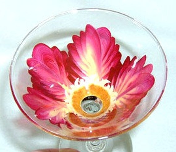 Martini Glass Burgandy and Yellow Flower Hand Painted