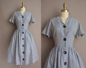 50s Mode O Day navy blue gingham vintage dress / vintage 1950s dress
