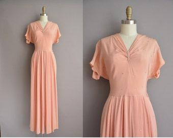 40s peach pink rayon rhinestone covered full length vintage dress / vintage 1940s dress