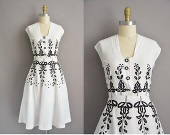 50s white linen black floral embroidered vintage dress / vintage 1950s dress