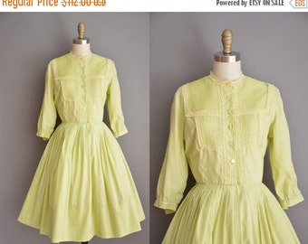 25% off SHOP SALE... vintage 1950s dress / chartreuse cotton dress / 50s shirt dress