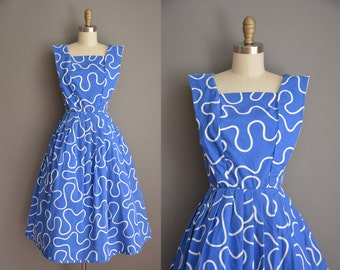 vintage 50s inspired dress / squiggle cotton print dress / 50s dress
