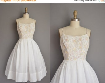 Anniversary SHOP SALE... vintage 1950s dress/50s dress/ white cotton embroidered floral dress