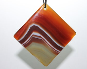 Agate Slice Focal Pendant - Beautifully stunning Brown and Green Striped Layer
