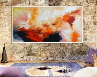 Abstract painting red pink Print, pink red Painting, gold print, gold and pink Art Print,  red abstract landscape, large canvas, fire art