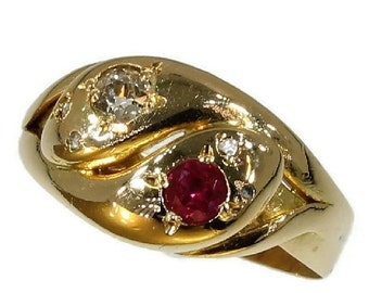 Summer Sale Antique Gold Snakes Ring Diamond Ruby Victorian Jewelry c1890