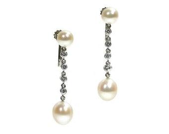 Pearl Diamond Wedding Dangle Earrings Platinum 0.32ct Brilliant Cut Diamonds