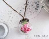 Antique Bronze & Pink Rose Terrarium Necklace, Pink Rose Necklace, Pink Glass Rose Necklace, Bronze Rose Necklace, Wild Rose Necklace