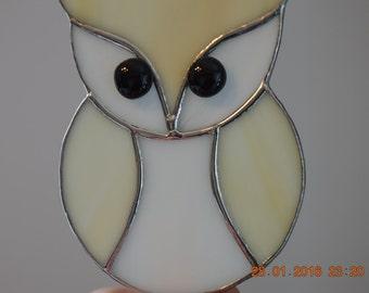 Stained Glass Owl, Snowy Owl, Sun Catcher, Tiffany Style, Stained Glass Suncatcher
