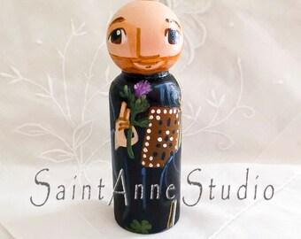 Saint Columba or Colum Catholic Saint Toy - Wooden Peg Doll - Made to Order