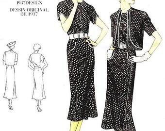 ON SALE Sz 6/8/10 Vogue Original Design Pattern V2560 - Misses' Bolero and One-Piece Dress - 30's Dress Pattern