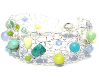 Colorful Summer Bracelet Wire Mesh Cuff Turquoise Bracelet Silver Thin Cuff Beadwork Lime Blue Aqua Wire Knit Jewelry