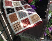 """RAGGY PATCHES Civil War Inspired TABLERUNNER,  Civil War Era Inspired Reproduction Fabrics,  12.5"""" x 34.5"""", Raggy 2.5"""" Squares, Table Quilt"""