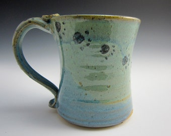 Large Ceramic Coffee Mug - Stoneware Mug -  Purple Blue Green Black Paw Prints - Pottery Mug - 16 oz ounces Clay Mug - Dog Cat - Water Theme