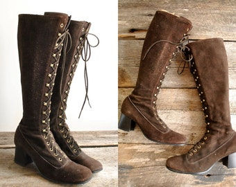 Reserved.... Tall Lace Up Boots Sz 8  //  70s Gogo Boots Sz 38.5   //  THE JOPLIN