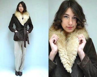 70s Suede Jacket  //   Suede Fur Coat  //  THE NEPALESE