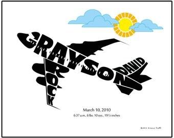 Personalized Airplane Nursery Art Print with Birth Stats, Custom New Baby Boy Gift, Airplane Nursery Decor