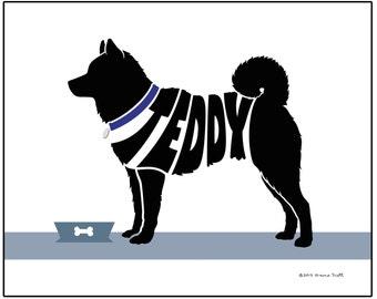 Personalized Shiba Inu Art Print, Custom Shiba Inu Dog Name Art, Dog Lover's Gift, Dog Memorial Gift