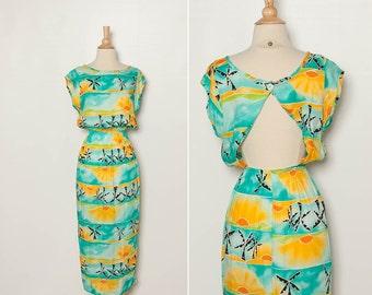 vintage 1980s dress tropical open back cut-out